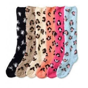 Accessories - Furry Leopard Print Knee High Socks